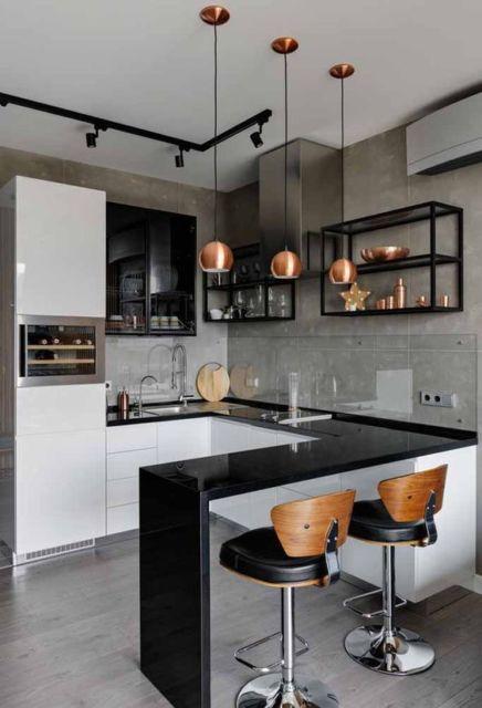 cozinha americana com parede de cimento queimado
