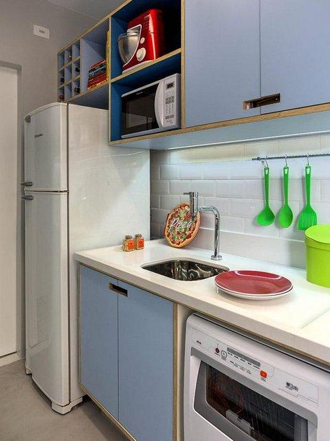 cozinha azul planejada