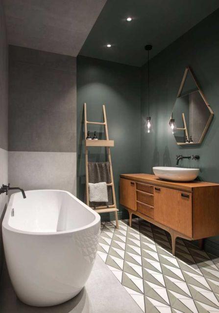 Banheiro com cores frias