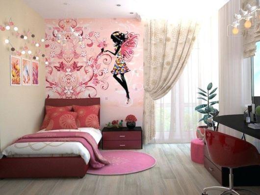 cortina estampada com flores para quarto infantil