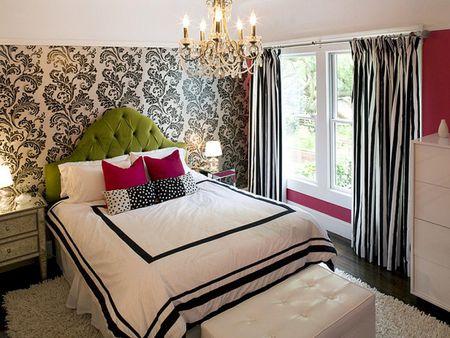 cortina estampada listrada em quarto vintage