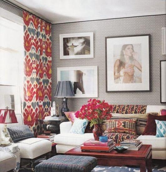 cortina estampada minimalista na sala de estar