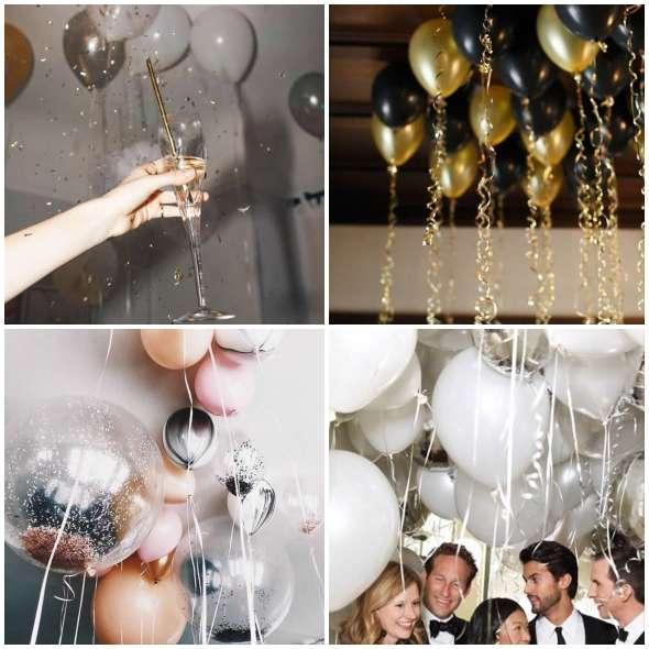 Decoração de Ano Novo simples com balões