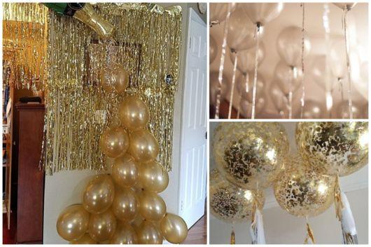 Decoração de Ano Novo simples e barata com balões