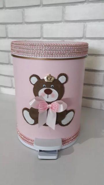 lixeira para quarto de bebê ursinho rosa