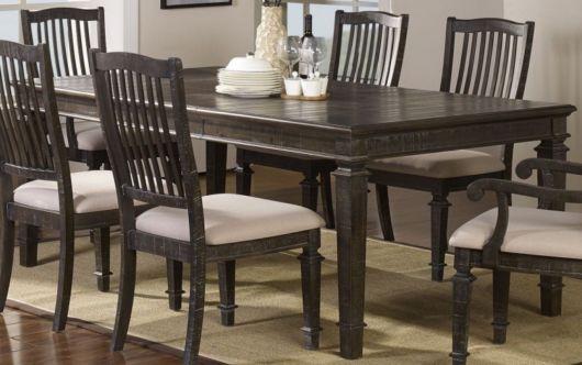 mesa de jantar retrô de madeira crua
