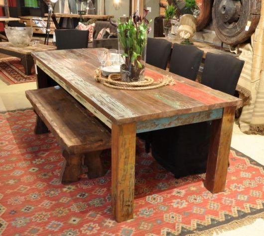 mesa de jantar retrô madeira de construção
