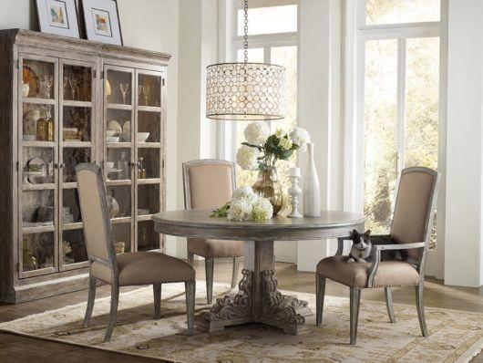 mesa de jantar retrô redonda cinza