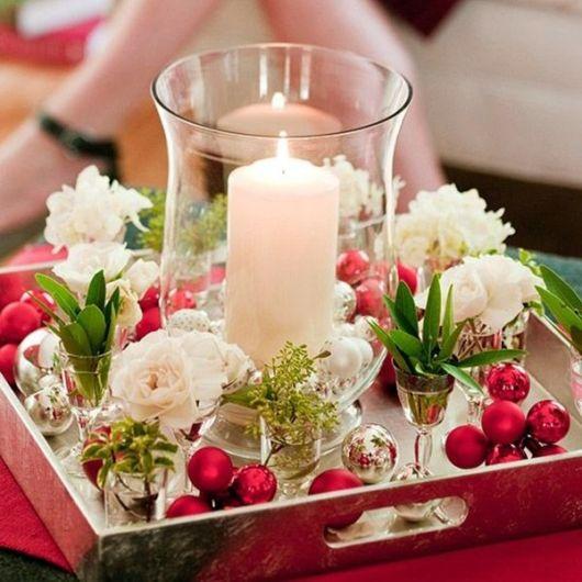 Arranjos de flores para mesa de natal simples