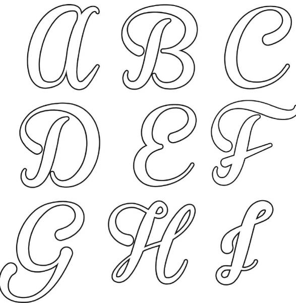 moldes de letras cursivas