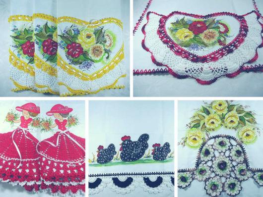 Pano de prato decorado com crochê
