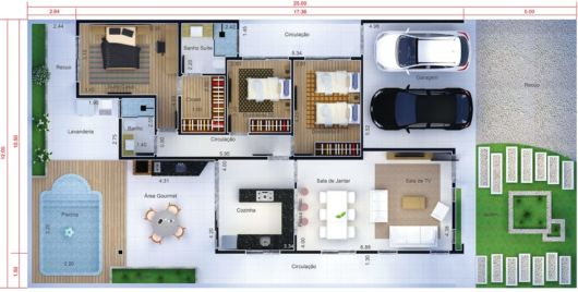 Projetos de casas térreas com 3 quartos