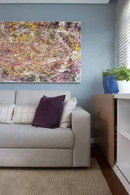 quadro abstrato colorido na decoração