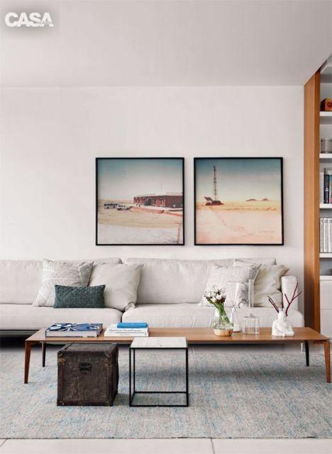 decoração com par de quadros