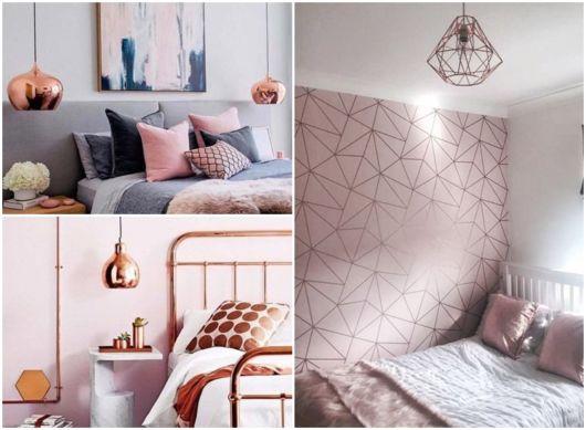 ideias para quarto rosé gold
