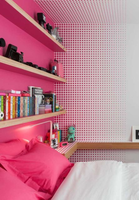 quarto pink e branco