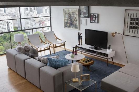sala com rack para tv