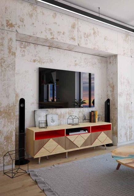 móvel em madeira com vermelho