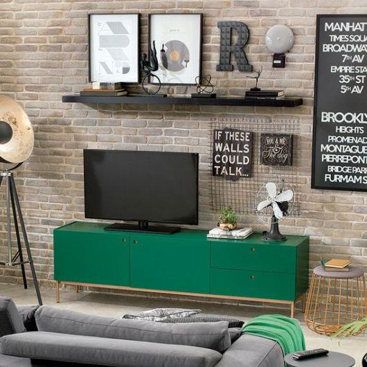 decoração com rack verde