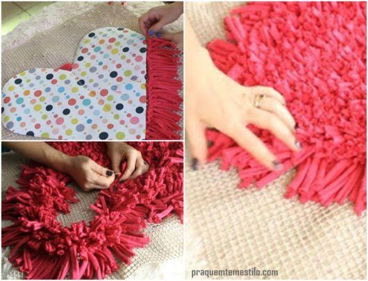 como fazer tapete de coração