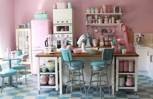 Cozinha com tons pastéis