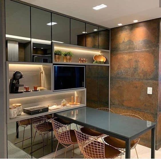 cozinha moderna com aço corten