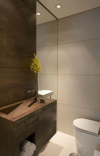 lavabo decorado com aço corten