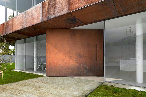 fachada com porta pivotante moderna