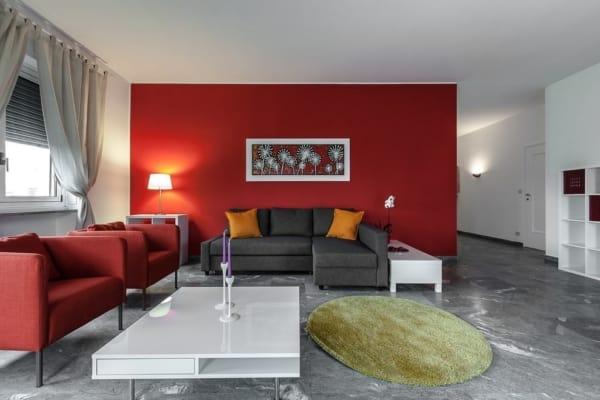 Salas com tons de vermelho