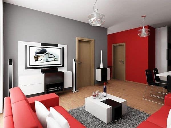 Sala de estar cinza com vermelho