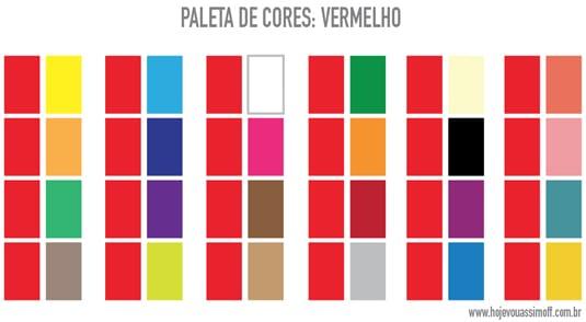 Paleta de cores que combinam com vermelho