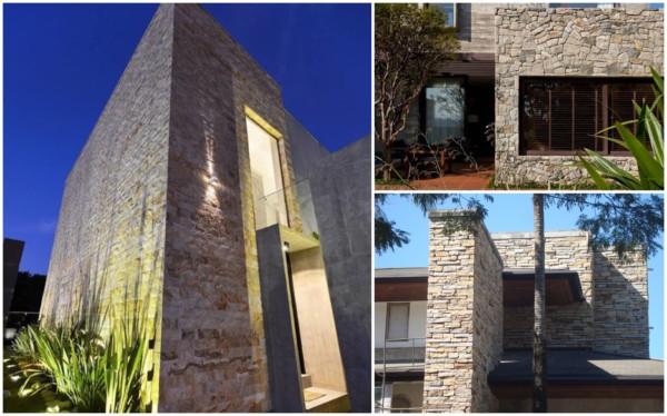 Paredes externas decoradas com pedras