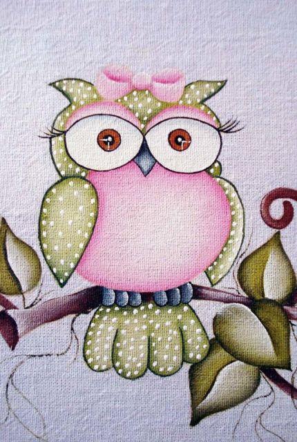 Pintura em tecido para iniciantes de corujas