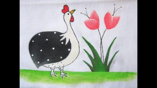 Galinha para pintura em tecido para iniciantes