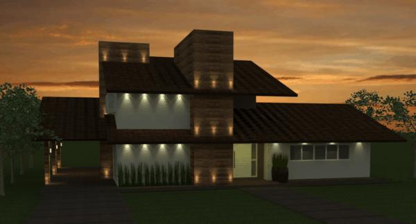 Casa contemporânea com telhado