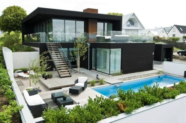 Casa contemporânea construída de forma modular
