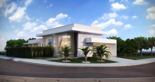 casa contemporânea pequena com palmeiras