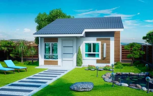 Casa contemporânea simples com telhado aparente