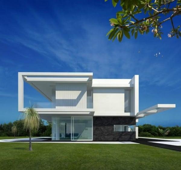 Casa contemporânea moderna branca