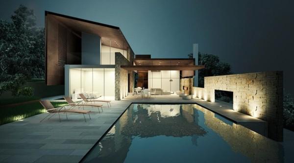 Casa contemporânea moderna com piscina