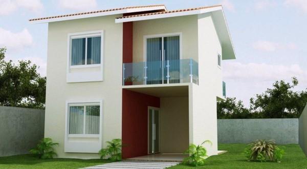Casa sobrado contemporânea com telhado aparente