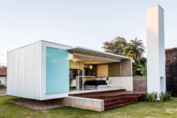 casa contemporânea feita com contêiner