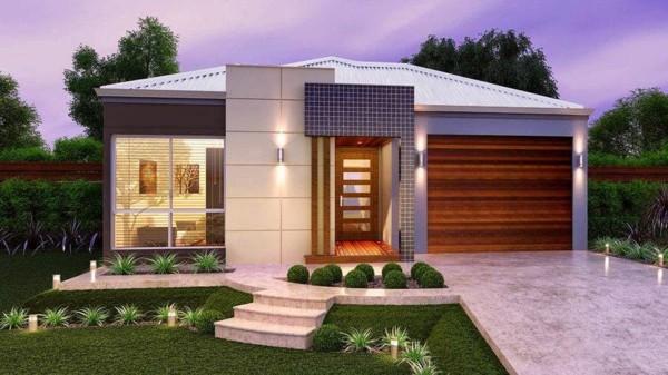 Casa contemporânea com telhado branco