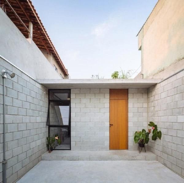 casa contemporânea pequena com acabamento de concreto