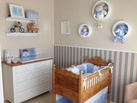 quarto de bebê bege e azul
