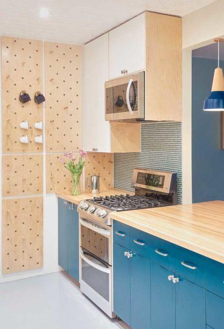 cozinha bege e azul