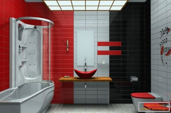 Banheiro que mistura vermelho, branco e preto
