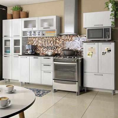 cozinha branca de aço