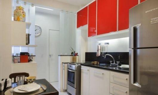 cozinha apartamento vermelha