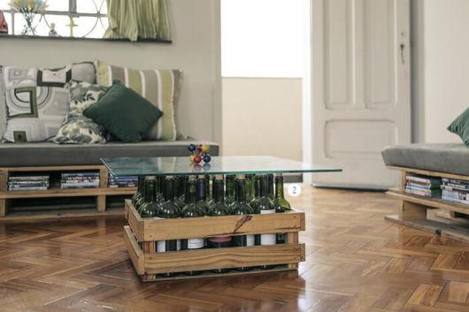 Mesa de centro pequena de vidro